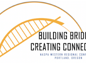 2019 western regional conference logo depicting a bridge and theme of the conference, Building Bridges, Creating Connections