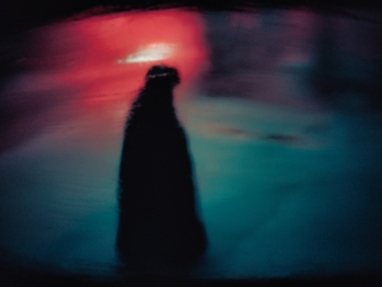 Unfocused picture of a woman's silhouette at night with a smudgy background