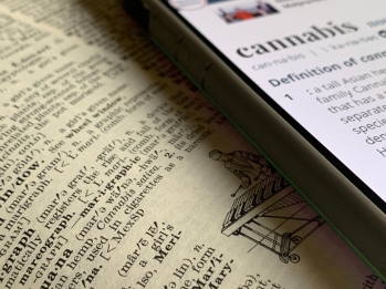 Phone with definition of cannabis on the screen laying on top of an open book.