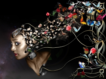 Abstract image of butterflies and flowers coming out of the back of a black woman's head