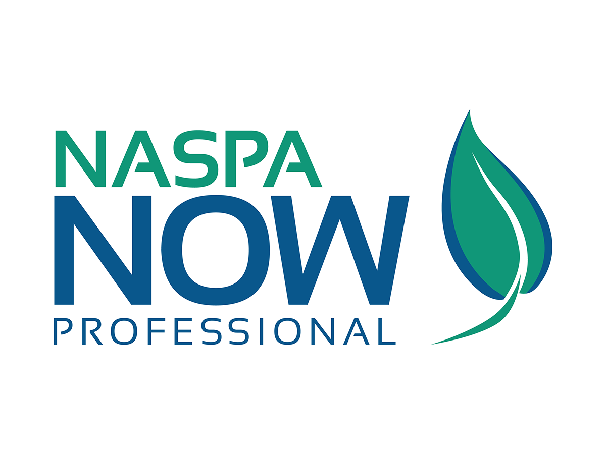 NASPA NOW Professional Text with Blue and Green Leaf on Side