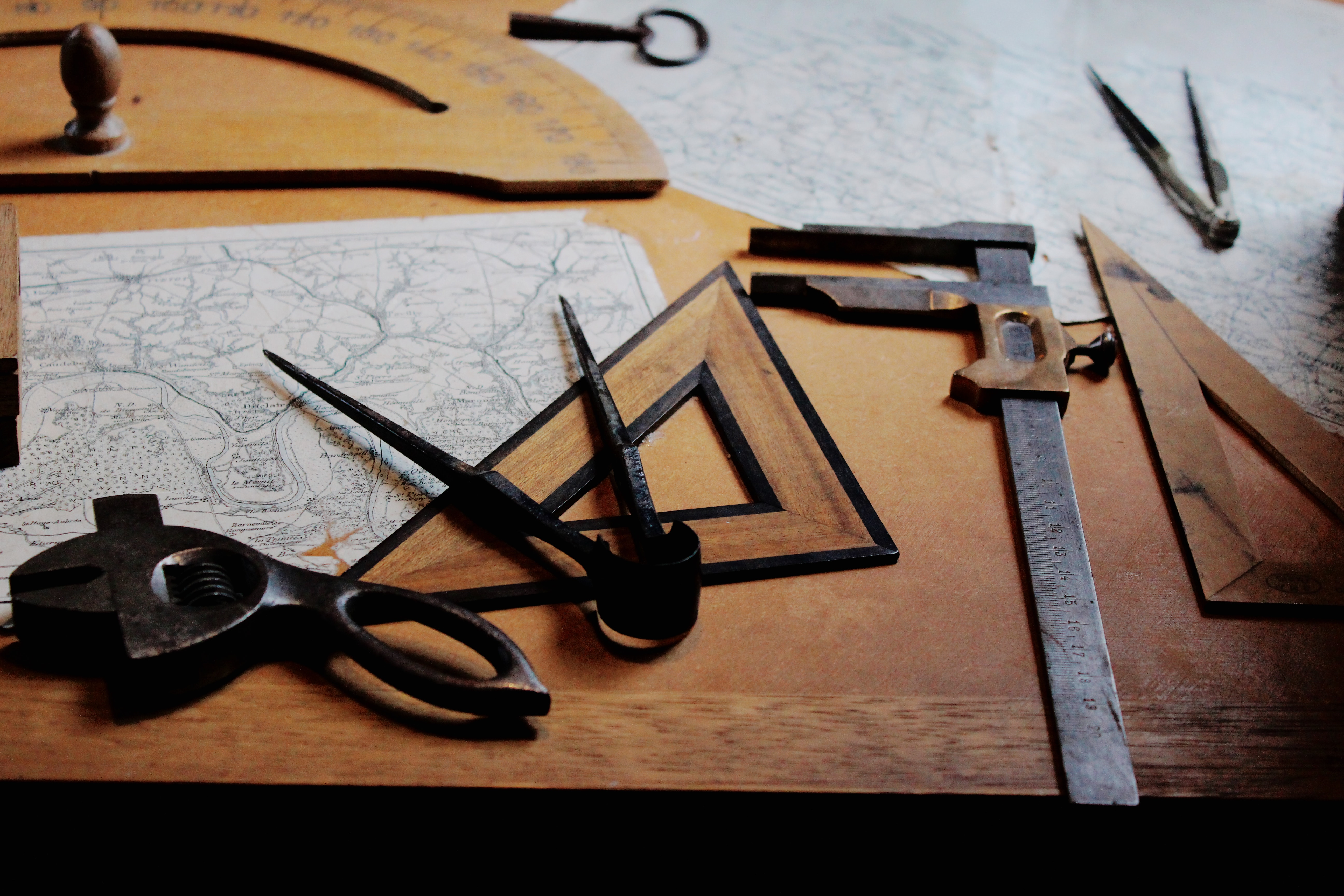 Drafting instruments on top of a table