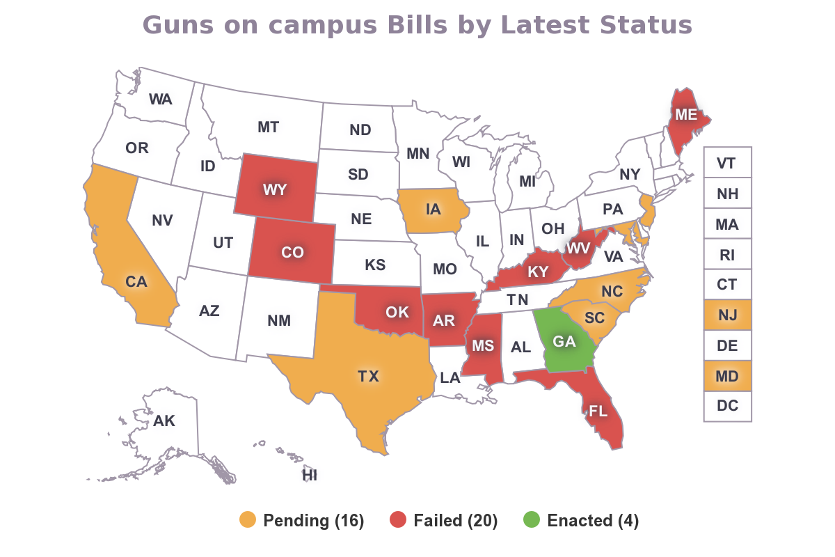 Gun Laws By State Map 2018.Campus Carry 2017 State Legislation Round Up